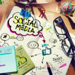 Social Media Ideas Designer Desk Architectural Tools Office Concept