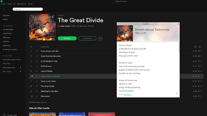 Are you missing the lyrics of the songs on Spotify Lyricfier is your solution